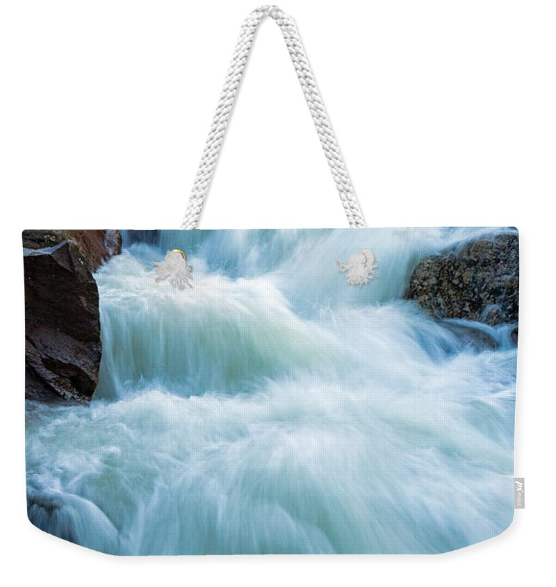 Alluvial Fan Falls Weekender Tote Bag featuring the photograph Alluvial Fan Falls On Roaring River In Rocky Mountain National Park by Fred Stearns