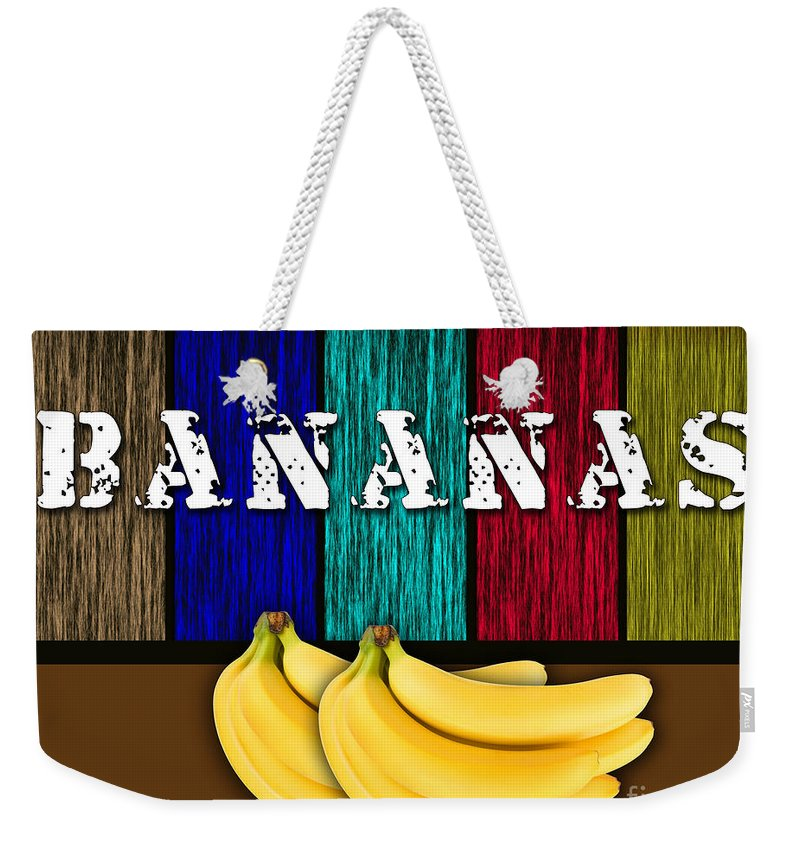 Bananas Photographs Weekender Tote Bag featuring the mixed media Bananas by Marvin Blaine