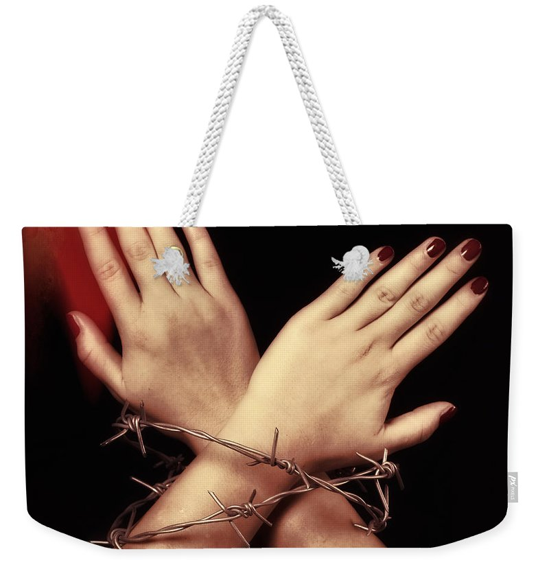 Hand Weekender Tote Bag featuring the photograph Barbed Wire by Joana Kruse