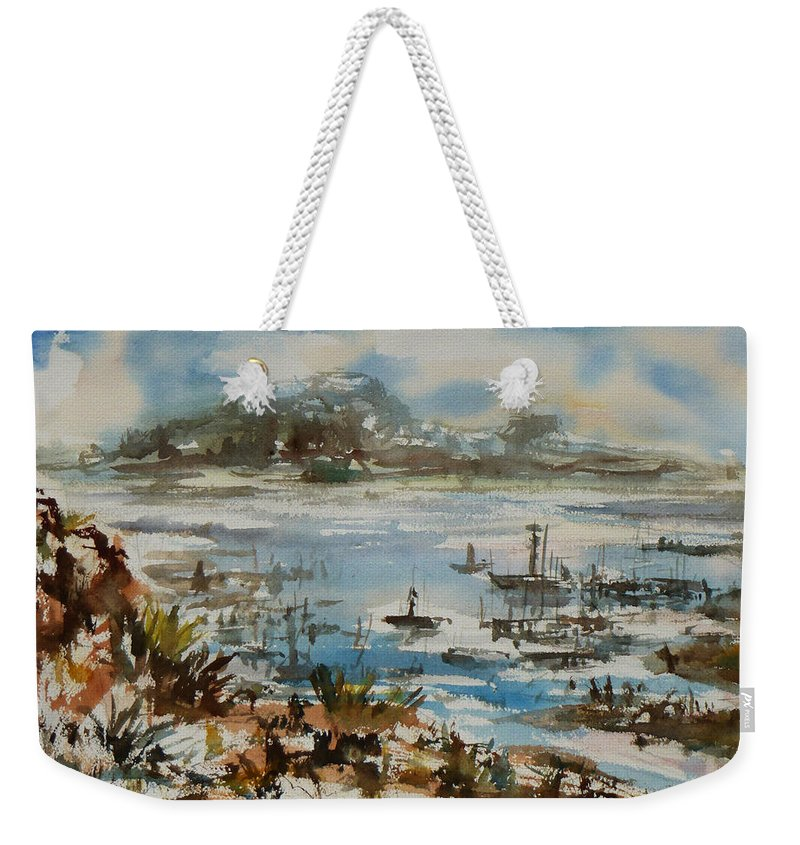 Monterrey Weekender Tote Bag featuring the painting Bay Scene by Xueling Zou