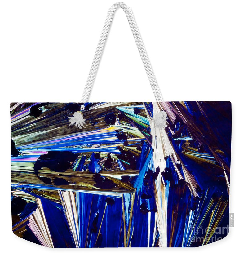 Acid Weekender Tote Bag featuring the photograph Benzoic Acid Crystals In Polarized Light by Stephan Pietzko