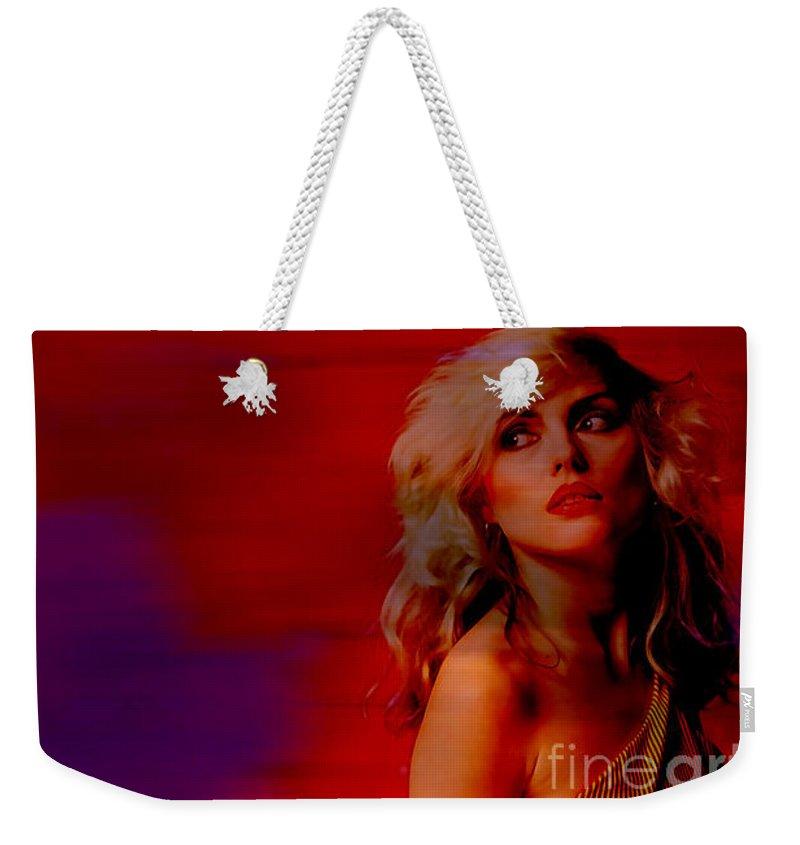 Blondie Paintings Mixed Media Weekender Tote Bag featuring the mixed media Blondie Debbie Harry by Marvin Blaine