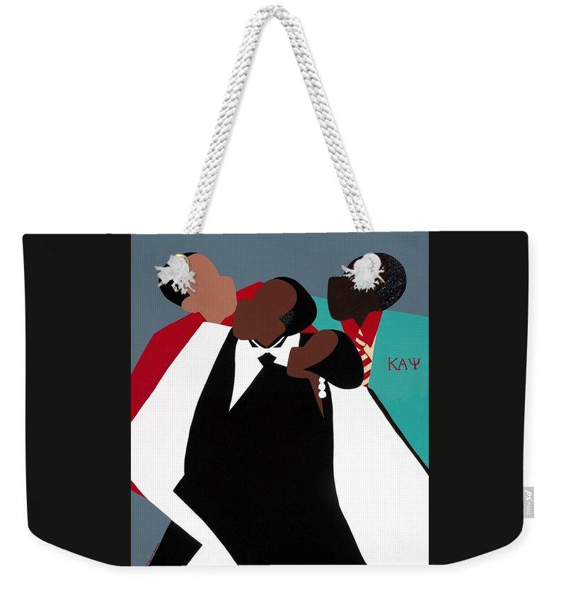 Kappas Weekender Tote Bag featuring the painting Brotherhood by Synthia SAINT JAMES