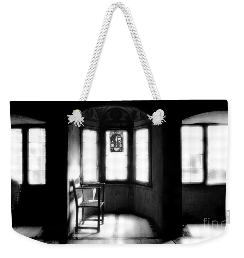 Castle Weekender Tote Bag featuring the photograph 3 Castle Rooms Bw by Mike Nellums