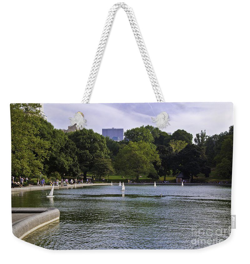 Pond Weekender Tote Bag featuring the photograph Central Park Pond by Madeline Ellis