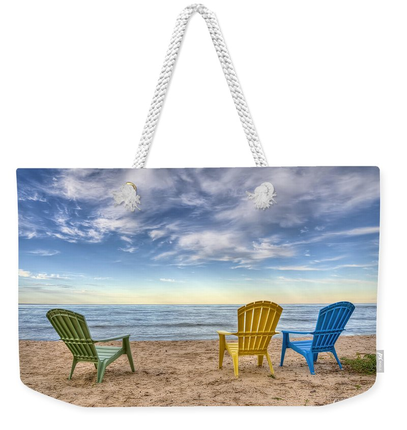 Chairs Weekender Tote Bag featuring the photograph 3 Chairs by Scott Norris