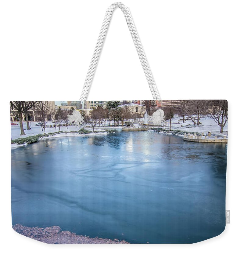 Charlotte Weekender Tote Bag featuring the photograph Charlotte North Carolina Marshall Park In Winter by Alex Grichenko