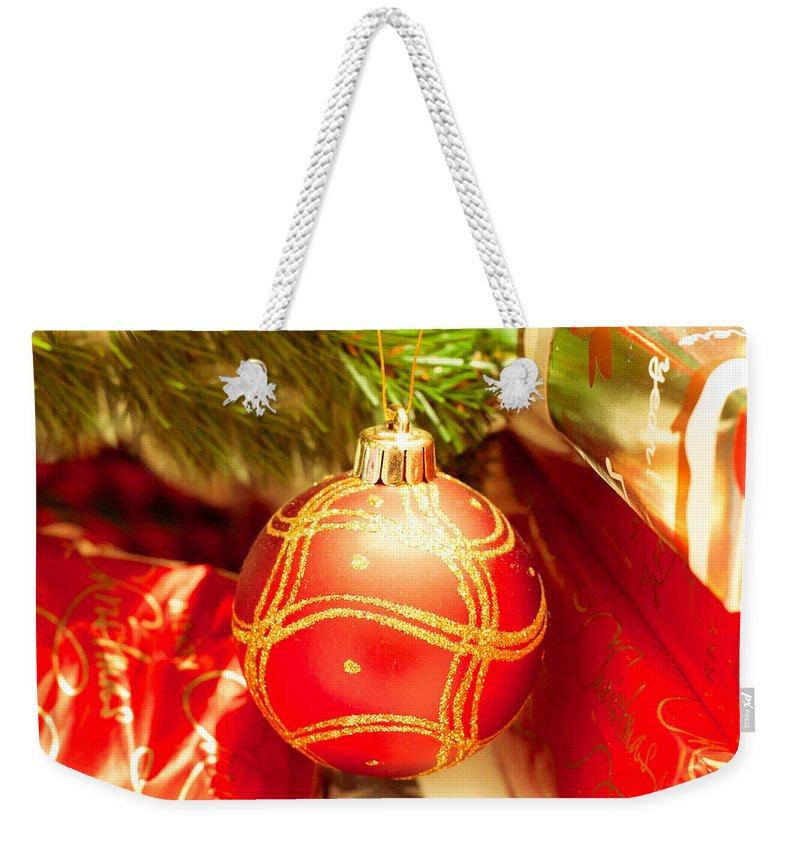 Background Weekender Tote Bag featuring the photograph Christmas Tree by Tom Gowanlock