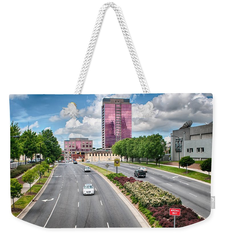 City Weekender Tote Bag featuring the photograph City Streets Of Charlotte North Carolina by Alex Grichenko