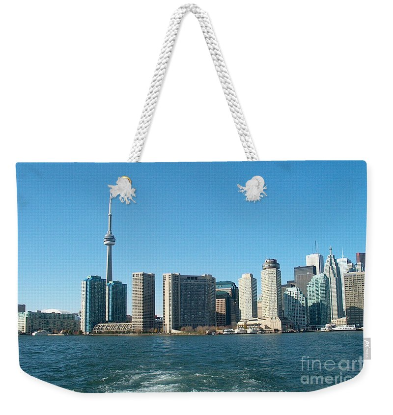 Toronto Weekender Tote Bag featuring the mixed media Cn Tower Toronto View From Centre Island Downtown Panorama Improvised With Graphic Artist Tools Pain by Navin Joshi