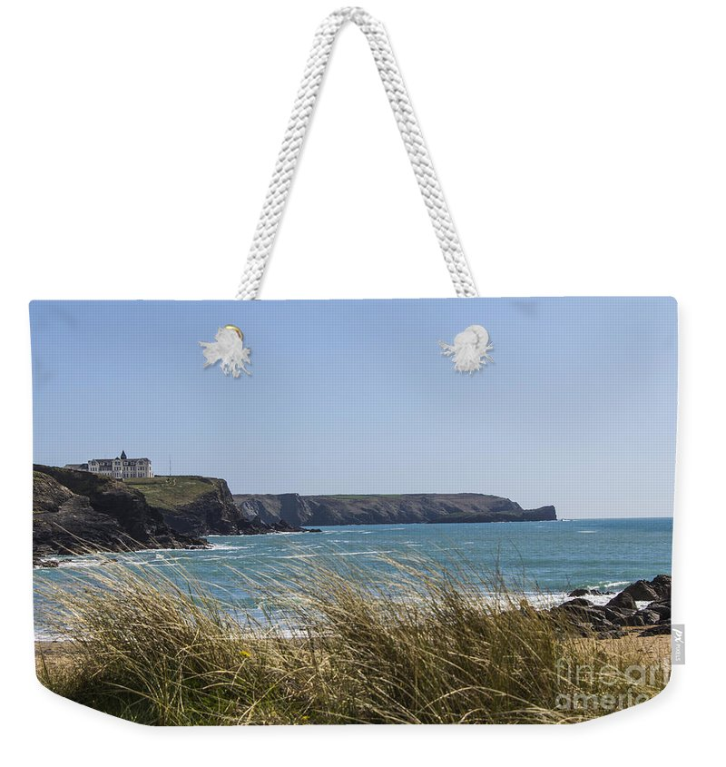 Seascapes Weekender Tote Bag featuring the photograph Cornish Seascape Gunwalloe by Brian Roscorla