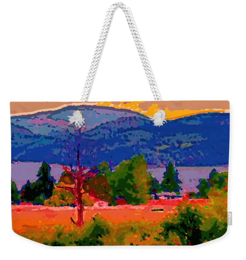 Cowichan Bay Weekender Tote Bag featuring the digital art Cowichan Bay From Doman's Road by David Skrypnyk