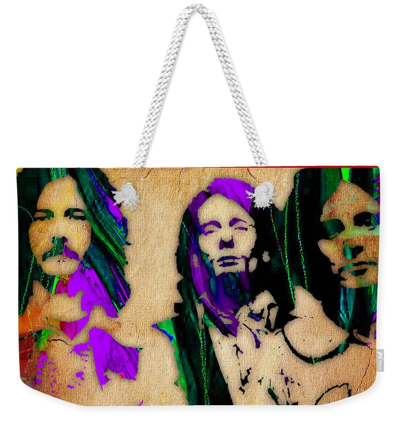Cream Weekender Tote Bag featuring the mixed media Cream Eric Clapton Jack Bruce Ginger Baker by Marvin Blaine
