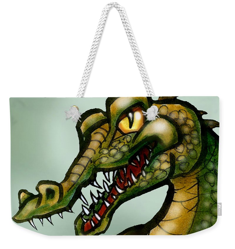 Crocodile Weekender Tote Bag featuring the painting Crocodile by Kevin Middleton