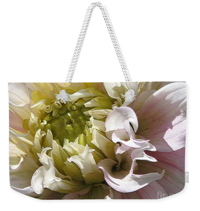 Dahlia Weekender Tote Bag featuring the digital art Dahlia Named Strawberry Ice by J McCombie