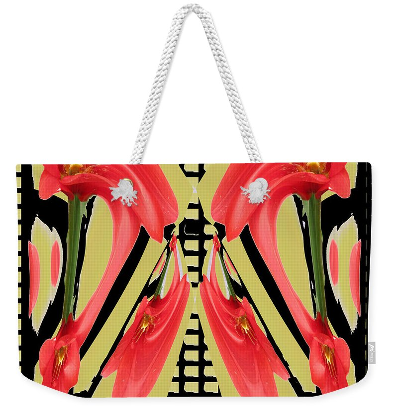 Abstract Weekender Tote Bag featuring the mixed media Dancing Tulip Red Exotic Flower Petal Based Wave Pattern Created By Navinjoshi Reiki Healing Master by Navin Joshi