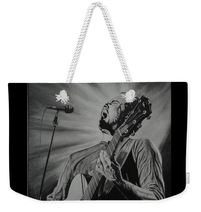 Dave Matthews Weekender Tote Bag featuring the drawing Dave Matthews by Charles Rogers