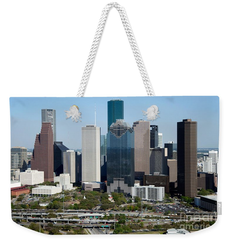 Houston Weekender Tote Bag featuring the photograph Downtown Houston Skyline by Bill Cobb