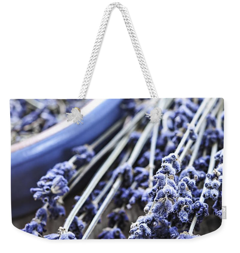 Lavender Weekender Tote Bag featuring the photograph Dried Lavender by Elena Elisseeva