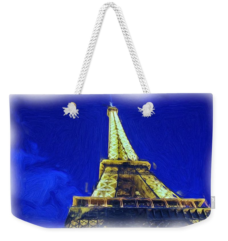 Digital Painting Weekender Tote Bag featuring the photograph Eiffel Tower by Allen Beatty