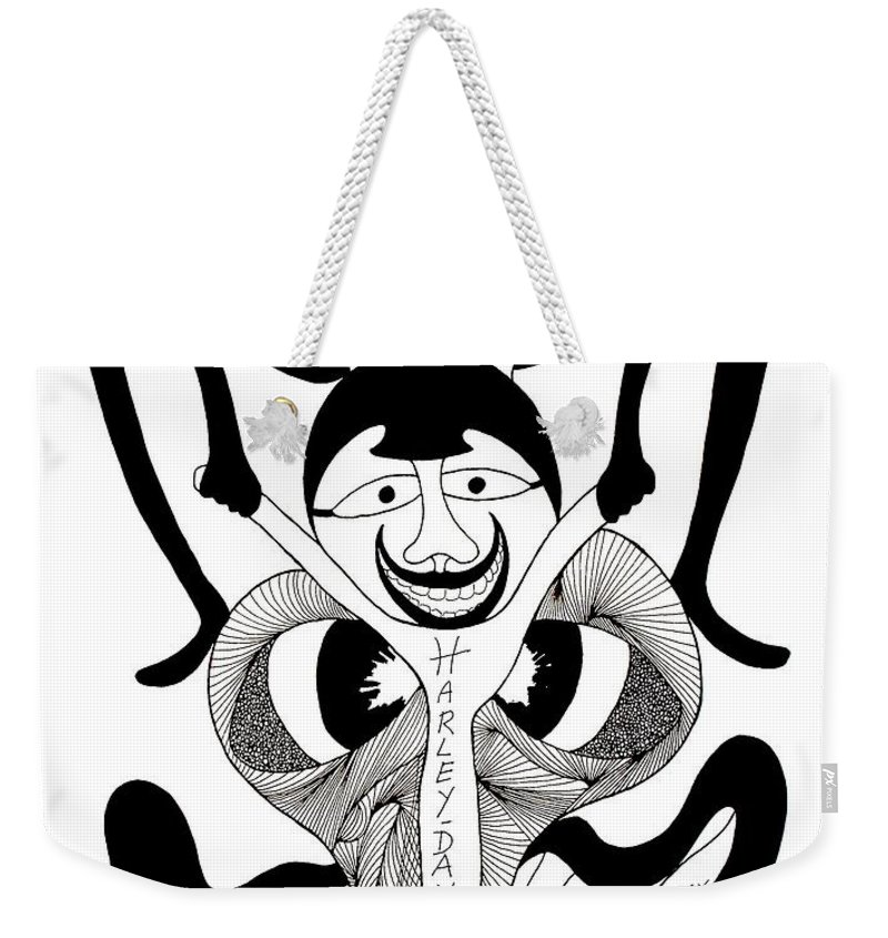 Genio Weekender Tote Bag featuring the drawing Fart Dot Com by Genio GgXpress