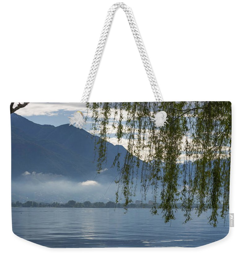 Bench Weekender Tote Bag featuring the photograph Flooding Lake by Mats Silvan