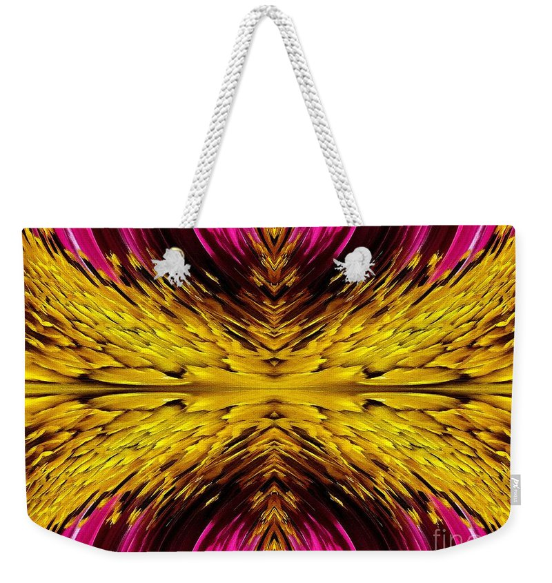 Sensation Weekender Tote Bag featuring the painting Fuchsia Sensation Abstract by J McCombie