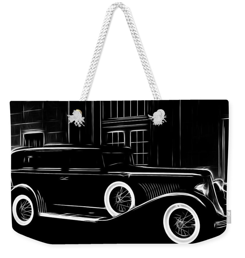 Old Oldtimer Classic Car Vehicle Black White 30 30s Golden Times Painting Weekender Tote Bag featuring the painting Golden Times by Steve K
