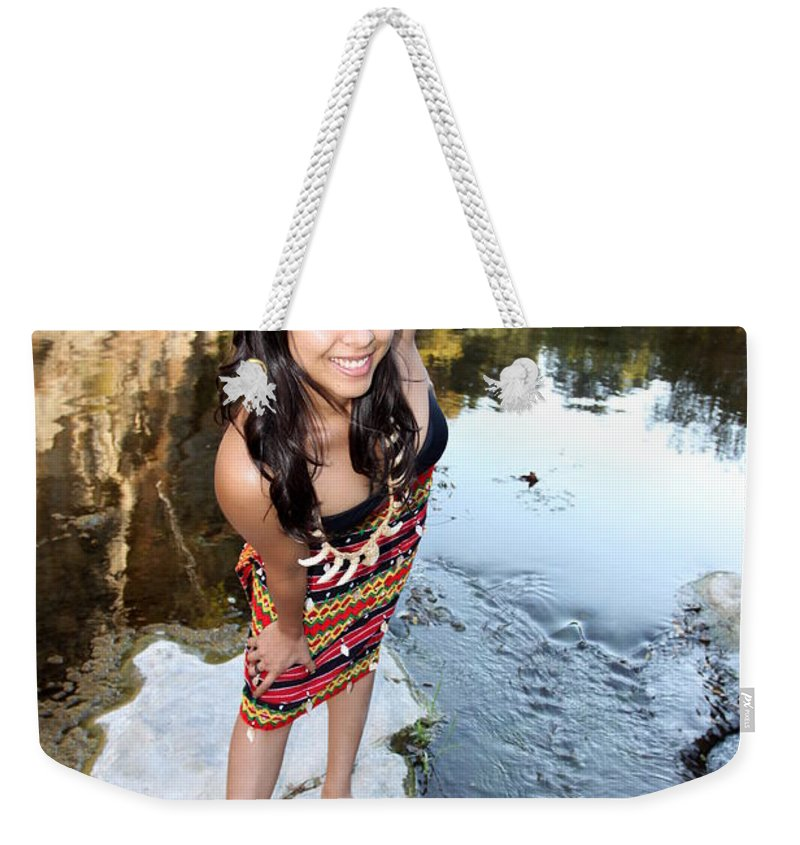 Colorful Weekender Tote Bag featuring the photograph Indian Woman by Henrik Lehnerer