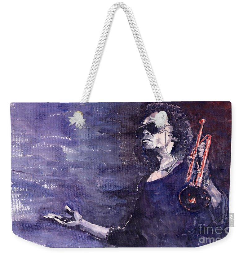 Jazz Weekender Tote Bag featuring the painting Jazz Miles Davis by Yuriy Shevchuk