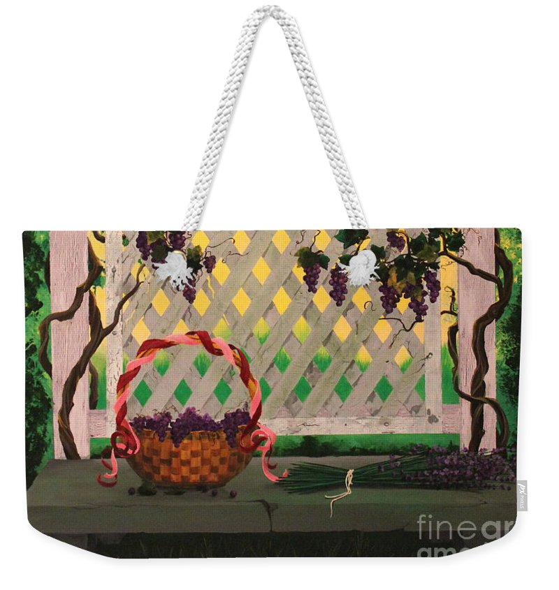 Dlgerring Weekender Tote Bag featuring the painting Lambrusco And Lavender by D L Gerring