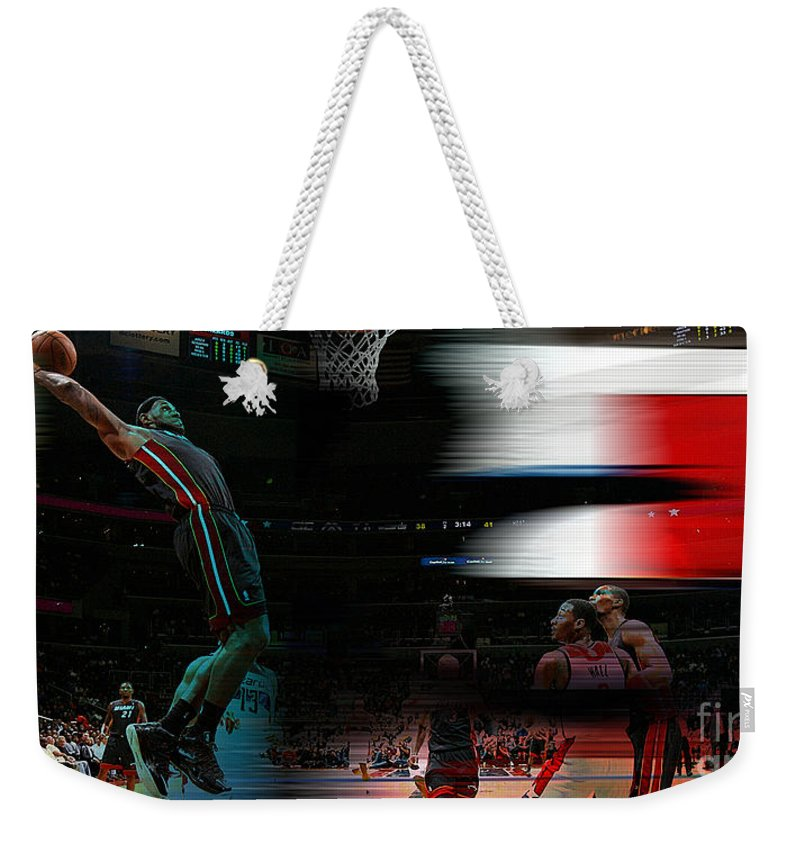 Lebron Paintings Mixed Media Weekender Tote Bag featuring the mixed media Lebron James by Marvin Blaine