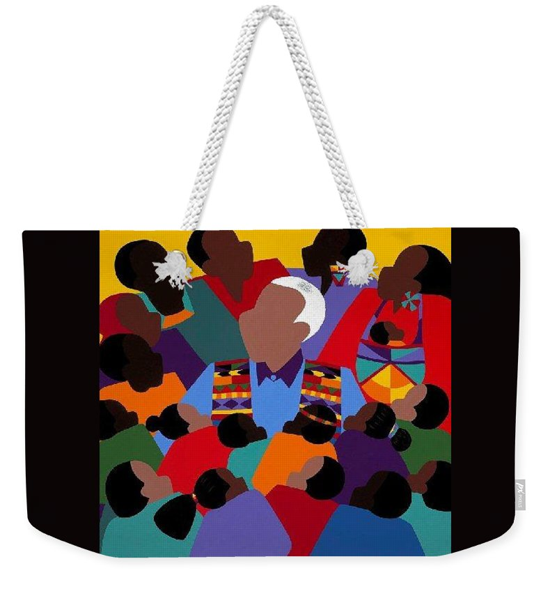 Nelson Mandela Weekender Tote Bag featuring the painting Madiba Mandela by Synthia SAINT JAMES