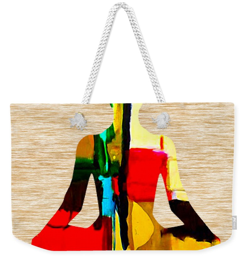 Namaste Paintings Weekender Tote Bag featuring the mixed media Meditation by Marvin Blaine