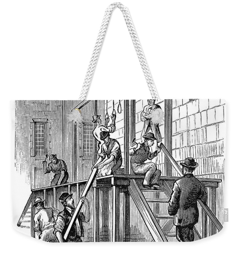 1877 Weekender Tote Bag featuring the painting Molly Maguires Executions by Granger