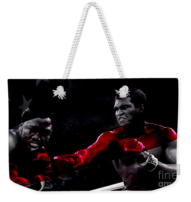 Sports Paintings Weekender Tote Bag featuring the mixed media Muhammad Ali by Marvin Blaine