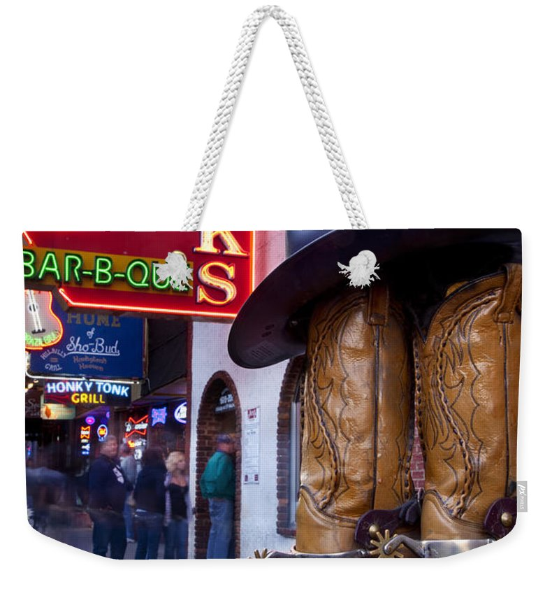 Neon Weekender Tote Bag featuring the photograph Music City Usa by Brian Jannsen