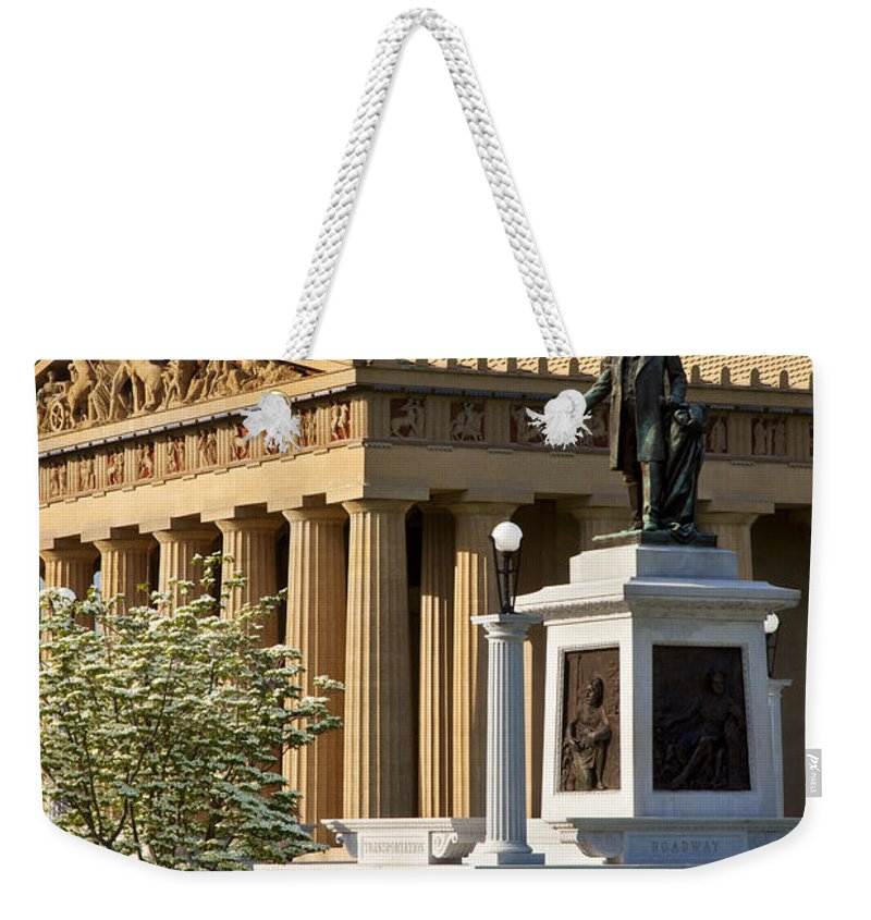 Jw Thomas Weekender Tote Bag featuring the photograph Nashville Parthenon by Brian Jannsen
