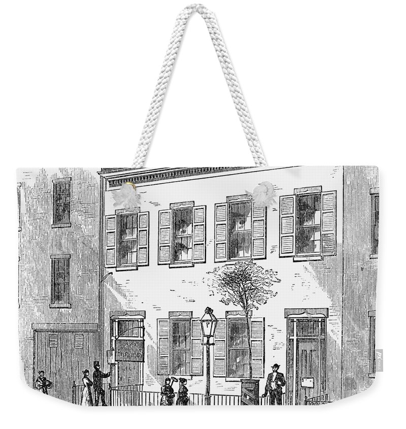 1868 Weekender Tote Bag featuring the photograph New York: Dispensary, 1868 by Granger