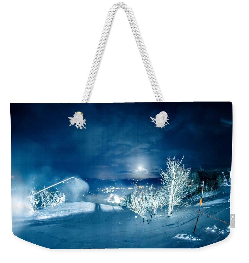Sugar Weekender Tote Bag featuring the photograph North Carolina Sugar Mountain Ski Resort Winter 2014 by Alex Grichenko