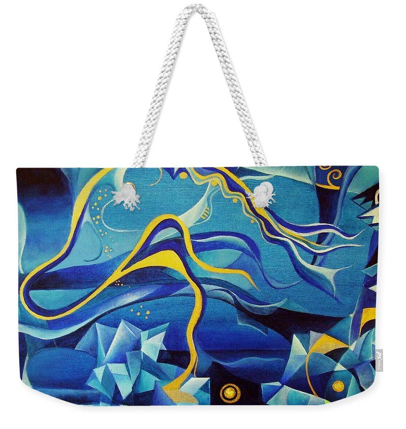 Orpheus Eurydike Greek Mth Claudio Monteverdi Music Abstract Acrylic Weekender Tote Bag featuring the painting Orpheus And Eurydike by Wolfgang Schweizer