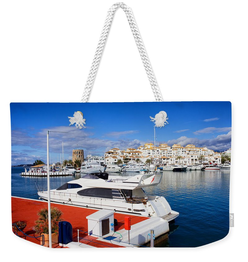 Marbella Weekender Tote Bag featuring the photograph Puerto Banus Marina In Spain by Artur Bogacki