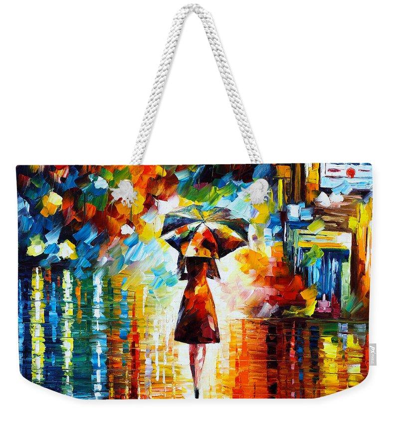 Rain Weekender Tote Bag featuring the painting Rain Princess by Leonid Afremov
