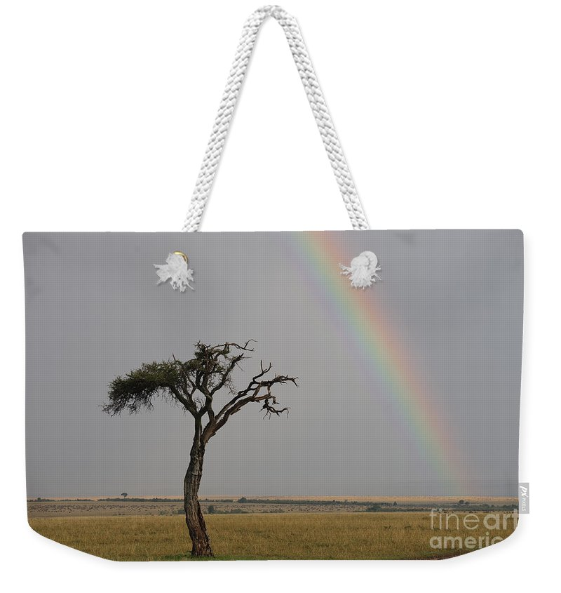Africa Weekender Tote Bag featuring the photograph Rainbow by John Shaw