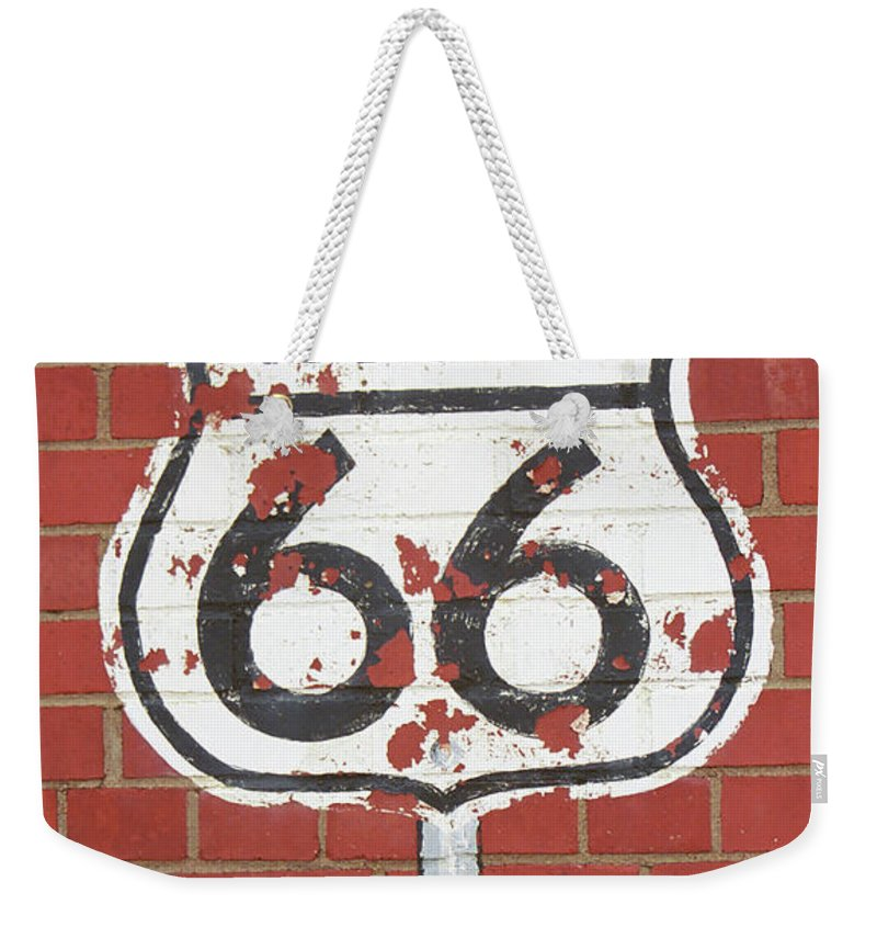 66 Weekender Tote Bag featuring the photograph Route 66 Shield by Frank Romeo