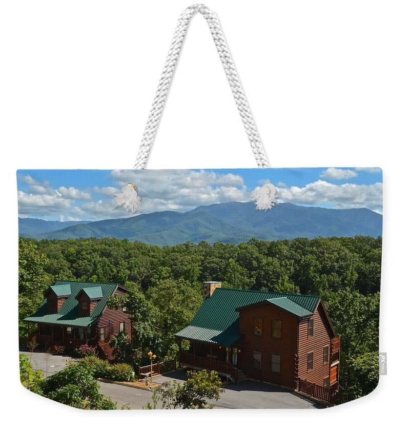 Smoky Weekender Tote Bag featuring the photograph Smoky Mountain Cabins by Frozen in Time Fine Art Photography