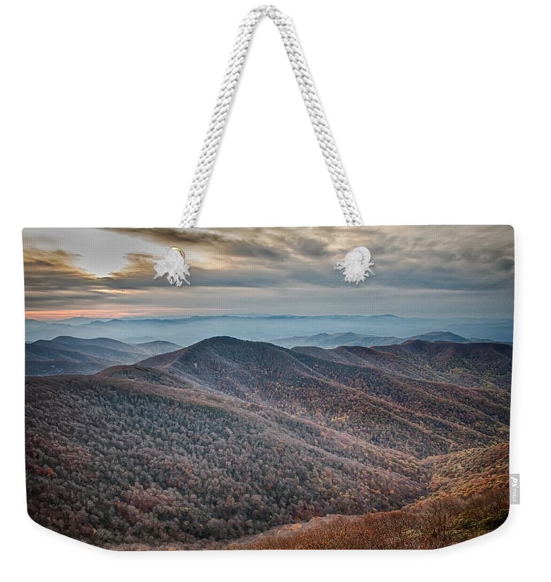 Blue Weekender Tote Bag featuring the photograph Sunset View Over Blue Ridge Mountains by Alex Grichenko