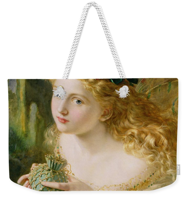 Female Weekender Tote Bag featuring the painting Take The Fair Face Of Woman by Sophie Anderson