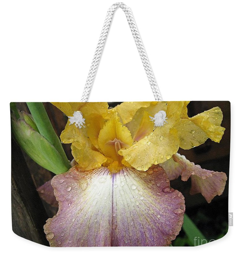 Bearded Weekender Tote Bag featuring the painting Tall Bearded Iris Named Butterfingers by J McCombie
