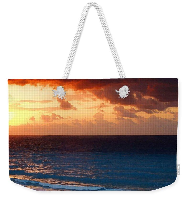 Tequila Sunrise Weekender Tote Bag featuring the painting Tequila Sunrise by Ellen Henneke